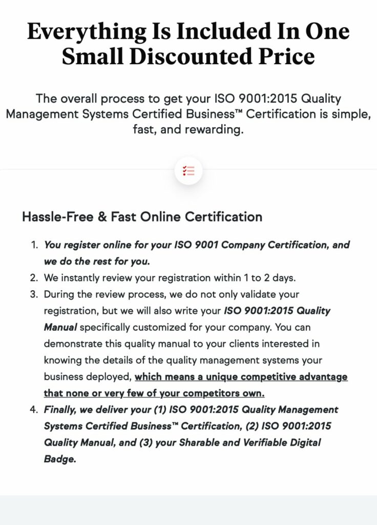 SkillFront ISO 9001 Certification Cost